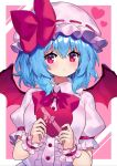 1girl :o bat_wings blue_hair blush bow bowtie box breasts center_frills commentary_request dress eyebrows_visible_through_hair frills hat hat_bow heart-shaped_box highres holding holding_box looking_at_viewer medium_breasts mob_cap pink_dress pink_headwear red_bow red_eyes red_neckwear remilia_scarlet short_hair solo touhou v-shaped_eyebrows wings wrist_cuffs yuujin_(yuzinn333)
