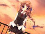 1girl bow braid dutch_angle fukigen_na_imouto game_cg hair_bow miyama-zero rooftop school_uniform serafuku sky solo sunset thigh-highs twin_braids violet_eyes