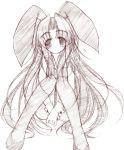1girl animal_ears asakura_ryouko bunnysuit monochrome pantyhose pink rabbit_ears sketch solo suzumiya_haruhi_no_yuuutsu yumesato_makura