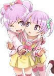 2girls blush blush_stickers bow double_bun hair_bow hug hug_from_behind long_hair looking_at_another looking_back manaka_lala manaka_non multiple_girls one_eye_closed open_mouth pripara purple_hair scrunchie short_hair siblings side_ponytail sisters smile striped striped_legwear tea_(nakenashi) thigh-highs twintails v violet_eyes