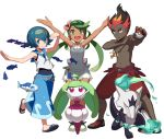 1boy 2girls alola_form alolan_marowak arms_up baggy_pants black_hair blue_eyes blue_hair blush bright_pupils capri_pants dark_skin dark_skinned_male fish flower green_eyes green_hair hair_flower hair_ornament hairband jewelry kaki_(pokemon) long_hair looking_at_viewer mao_(pokemon) marowak multicolored_hair multiple_girls necklace one-piece_swimsuit open_mouth outstretched_arms pants poke_ball pokemon pokemon_(creature) pokemon_(game) pokemon_sm redhead sandals school_swimsuit shirtless short_hair shorts siblings simple_background sleeveless smile solo spread_arms suiren_(pokemon) swimsuit swimsuit_under_clothes tonami_kanji trial_captain twins twintails two-tone_hair very_dark_skin water white_background wishiwashi