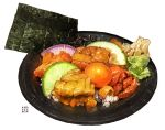 egg food fruit lime_(fruit) meat momiji_mao no_humans nori_(seaweed) onion original plate rice vegetable