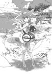 1girl :d :o absurdres bag bangs bare_arms blunt_bangs blurry braid breasts character_name closed_eyes clouds cloudy_sky collared_dress cosmog day depth_of_field dress eyebrows_visible_through_hair eyes_visible_through_hair fence grass handbag hat highres island kneehighs legendary_pokemon lillie_(pokemon) long_hair looking_at_viewer monochrome ocean open_mouth outdoors petals poke_ball_theme pokemon pokemon_(creature) pokemon_(game) pokemon_sm see-through shadow sky sleeveless sleeveless_dress small_breasts smile solo sparkle standing strap sun_hat sundress tree twin_braids water yajima_tetsuo