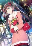 1girl artist_name ayame_kotoko bag black_hair black_legwear blue_eyes blurry bokeh breath chuuko_de_mo_koi_ga_shitai! coat cover cover_page depth_of_field dutch_angle fur_trim gift gloves hair_ribbon handbag holding holding_gift leaning_against_railing long_hair looking_to_the_side novel_cover official_art pantyhose pink_coat plaid plaid_skirt railing red_gloves red_ribbon redrop ribbon signature skirt smile solo twintails winter_clothes