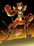 >:d 1girl :d armpits artist_name bangs belt blonde_hair blunt_bangs blush_stickers breasts brown_hair cat claws clenched_hand collarbone dated eudetenis facial_mark fang fighting_stance full_body giant glowing glowing_hands green_eyes groin hands_up highres incineroar legs_apart looking_away looking_up multicolored_hair night night_sky open_mouth paws personification pokemon pokemon_(game) pokemon_sm redhead ribs rock signature sky slit_pupils small_breasts smile solo standing star_(sky) starry_sky tail tiger_girl tiger_tail two-tone_hair yellow_sclera