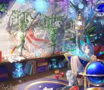 1girl animal_ears apple bare_shoulders barefoot bent_knees blue_eyes butterfly crystal food fox_ears fox_tail fruit globe glowing_butterfly hair_intakes indoors lantern legs_together long_hair looking_at_viewer original plant quill sakuyosi signature silver_hair sitting sleeveless solo tail test_tube vines