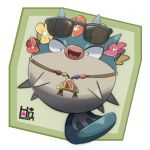 :d blowfish character_name flower head_wreath looking_at_viewer no_humans open_mouth pokemon pokemon_(creature) pokemon_(game) pokemon_sm puffer_fish qwilfish smile sunglasses sunglasses_on_head