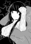 1girl :3 absurdres bangs bean_bag_chair black_background black_hair blunt_bangs clenched_hand eyebrows_visible_through_hair flying_witch greyscale hand_on_own_head highres ishizuka_chihiro kowata_makoto looking_at_viewer monochrome reclining ribbed_sweater sidelocks sleeves_past_wrists solo star sweater tareme upper_body