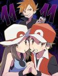 1girl 2boys agata_(agatha) baseball_cap black_shirt blue_(pokemon) brown_eyes brown_hair clenched_teeth hat jacket long_hair looking_at_viewer multiple_boys ookido_green ookido_green_(frlg) open_collar orange_hair pocky_day pokemon pokemon_(game) pokemon_frlg popped_collar porkpie_hat red_(pokemon) red_(pokemon)_(remake) red_hat shirt short_hair short_sleeves sidelocks sleeveless sleeveless_shirt smile spiky_hair symmetrical_hand_pose teeth white_hat wristband