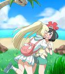 2girls alola_form alolan_exeggutor backpack bag beach blonde_hair blush closed_eyes clouds commentary_request exeggutor fangs female_protagonist_(pokemon_sm) grass grey_eyes hat hug lillie_(pokemon) multiple_girls one_leg_raised open_mouth pokemon pokemon_(game) pokemon_sm ponytail scared shippo_(shishizaru) shorts skirt water yuri z-ring