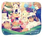 2boys 2girls baseball_cap blonde_hair braid breasts brown_hair burnet_(pokemon) candy candy_cane christmas_tree cleavage closed_eyes cosmog cup dark_skin dark_skinned_male delibird drinking_glass facial_hair food glasses goatee green_eyes hat kukui_(pokemon) labcoat ladder lillie_(pokemon) long_hair luvdisc merry_christmas mullein_(pokemon) multiple_boys multiple_girls one_eye_closed open-chest_sweater open_mouth pikachu pokemon pokemon_(creature) pokemon_(game) pokemon_sm rockruff rowlet short_hair sleeveless snubbull sparkle sunglasses sweater table twin_braids white_hair wine_glass yellow_eyes yumenouchi_chiharu