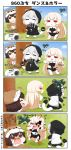 3girls 4koma aircraft airplane angry animal_costume arms_up backpack bag bikini_bottom bikini_top blonde_hair blue_sky brown_eyes brown_hair central_hime closed_eyes comic commentary_request cracked_skin crying crying_with_eyes_open dog_costume dog_tail glowing glowing_eyes grey_hair hands_on_hips hiding highres hood hood_up hoodie horns hyuuga_(kantai_collection) kantai_collection long_hair multiple_girls musical_note oni_horns open_mouth puchimasu! radio radio_exercises re-class_battleship red_eyes scarf short_hair sky smile strapless surprised tail tears translation_request tree tubetop very_long_hair yuureidoushi_(yuurei6214)