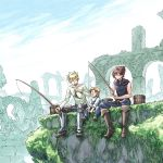 3boys alfonso_san_valiante armor armored_boots belt blonde_hair boots child day fish fishing fishing_rod full_body garo:honoo_no_kokuin garo_(series) leon_luis moss multiple_boys outdoors overalls overgrown red_eyes redhead roberto_luis rubble ruins scenery shirt shoes short_hair sitting sky sleeveless sleeveless_shirt smile spiky_hair watari_taichi