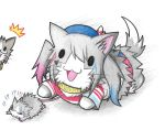 !!? !? alternate_costume animal animalization beret cat colored_pencil_(medium) cosplay dainamitee glasses harley_quinn harley_quinn_(cosplay) hat kantai_collection kashima_(kantai_collection) katori_(kantai_collection) no_humans non-human_admiral_(kantai_collection) rat simple_background suicide_squad surprised sweatdrop traditional_media white_background