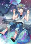 1girl baggy_pants blue_eyes blue_hair blue_pants bright_pupils capri_pants clouds cloudy_sky geisha-geisha- hairband looking_at_viewer one-piece_swimsuit pants pokemon pokemon_(game) pokemon_sm popplio sailor_collar sandals shirt short_hair sitting sky sleeveless sleeveless_shirt smile suiren_(pokemon) swimsuit swimsuit_under_clothes toes trial_captain