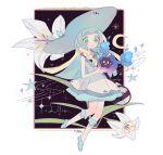 1girl 2016 :o bag bangs bare_arms blonde_hair blue_ribbon blue_shoes blunt_bangs blush braid character_name collared_dress colored_eyelashes cosmog dated dress duffel_coat flower green_eyes handbag hat hat_ribbon kneehighs leaf lillie_(pokemon) lily_(flower) long_hair namesake object_namesake open_mouth pinpeuru poke_ball_theme pokemon pokemon_(creature) pokemon_(game) pokemon_sm ribbon shoes sleeveless sleeveless_dress solo sparkle sun_hat sundress twin_braids white_dress white_hat white_legwear