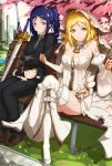 :> absurdres alternate_costume bench blonde_hair blue_hair breasts character_doll cleavage cosplay detached_sleeves error excalibur fate/extra fate/extra_ccc fate/grand_order fate/zero fate_(series) formal gloves highres kurosawa_dia looking_at_viewer love_live! love_live!_sunshine!! matsuura_kanan necktie ohara_mari park_bench renze_l saber saber_(cosplay) saber_bride saber_extra saber_extra_(cosplay) suit thighs violet_eyes yellow_eyes