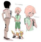 1boy 1girl androgynous bangs black_hair black_necktie blue_eyes book capri_pants character_sheet child cosplay dark_skin dark_skinned_male eyebrows_visible_through_hair green_shirt green_shorts ilima_(pokemon) kneehighs necktie npc npc_trainer pants pink_hair pocket pokemon pokemon_(creature) pokemon_(game) pokemon_sm rising_star_(pokemon) rising_star_(pokemon)_(cosplay) shirt short_hair short_sleeves shorts simple_background swept_bangs tareme teacher_(pokemon) translation_request trial_captain uniform white_background white_legwear wing_collar younger yungoos yutaka7