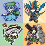 bag blue_eyes blue_hair bolt brown_eyes brown_hair drill gundam gundam_0083 gundam_f91 gundam_gp-02_physalis hat heart ikazuti_gundam kawashiro_nitori komeiji_koishi nagae_iku parody purple_hair red_eyes reiuji_utsuho sd_gundam short_hair silver_hair touhou twintails wabi_(wbsk) wabi_tsubaki wrench