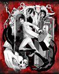 black_hair blood bone bones chain chains door formal horns kantou male monster red_eyes skull suit suitcase