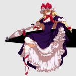 blonde_hair bobby_socks bow breasts cleavage closed_umbrella dress dress_lift egawa_satsuki elbow_gloves frilled_dress frills gap gloves hair_bow hair_over_one_eye hat high_heels leg_ribbon legs lips long_hair parasol purple_dress purple_eyes ribbon ribbon_choker satsuki_(dorowa) shoe_ribbon shoes simple_background socks solo touhou umbrella yakumo_yukari