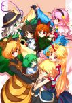 animal_ears bad_id biting blonde_hair braid brown_hair bucket carrying cat_ears cuffs everyone frown green_eyes green_hair hair_bobbles hair_ornament hairband hat holding_hands hong_(white_spider) horn hoshiguma_yugi hoshiguma_yuugi hug hug_from_behind kaenbyou_rin kisume komeiji_koishi komeiji_satori kurodani_yamame long_hair mizuhashi_parsee multiple_girls paw_pose pink_hair pointy_ears red_eyes red_hair reiuji_utsuho shiro_spider short_hair silver_hair smile star subterranean_animism thumb_biting touhou twin_braids twintails v_arms wink