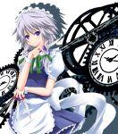 blue_eyes blush clock gears hairband izayoi_sakuya knife maid ribbon short_hair silver_hair touhou yuurakudou_kurono