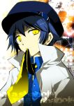 androgynous cabbie_hat hat kamiyoshi mouth_hold necktie persona persona_4 reverse_trap shirogane_naoto solo yellow_eyes