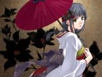 1024x768 grey_hair japanese_clothes kimono long_hair oriental_umbrella ribbon umbrella wallpaper yellow_eyes