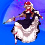 blonde_hair bobby_socks breasts cleavage closed_umbrella dress dress_lift egawa_satsuki elbow_gloves frills gloves hair_over_one_eye hat high_heels leg_ribbon legs lips long_hair purple_dress ribbon ribbon_choker satsuki_(dorowa) shoe_ribbon shoes socks solo touhou umbrella yakumo_yukari