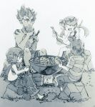 2boys 2girls baggy_pants bangs baseball_cap bowl campfire capri_pants chopsticks closed_eyes dark_skin dark_skinned_male eating flower grey_background greyscale hair_flower hair_ornament haroharo10 hat hotpot jewelry kaki_(pokemon) ladle long_hair male_protagonist_(pokemon_sm) mao_(pokemon) monochrome multicolored_hair multiple_boys multiple_girls nature necklace overalls pants plant pokemon pokemon_(game) pokemon_sm rock shirt short_hair shorts simple_background sitting skirt striped striped_shirt suiren_(pokemon) swept_bangs t-shirt tattoo traditional_media trial_captain twintails two-tone_hair white_background wok