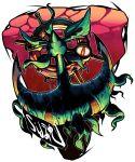 anchor artist_name dhelmise highres leaf no_humans orange_eyes pokemon pokemon_(creature) pokemon_(game) pokemon_sm sido_(slipknot) simple_background solo white_background