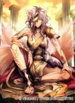 1girl animal_ears arm_guards armlet armor company_connection copyright_name eyepatch fire_emblem fire_emblem:_akatsuki_no_megami fire_emblem_cipher long_hair looking_at_viewer nagahama_megumi nailah official_art outdoors purple_hair sandals serious shoulder_armor sitting solo sunset tail tattoo toeless_socks wolf_ears wolf_tail