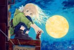 1girl :3 animal animal_on_shoulder bag beer_can blonde_hair blue_eyes can capri_pants cat city cityscape clouds denim evening fanny_pack full_moon holding holding_animal holding_can hood hooded_jacket jacket jeans kneeling knees_on_chest long_hair looking_at_viewer maij moon night night_sky original outdoors pants scenery shoes sign sitting sky sleeves_rolled_up smile sneakers solo squatting white_cat