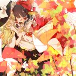 2girls :d ^_^ autumn_leaves black_hair blonde_hair blush bow closed_eyes couple detached_sleeves hair_bow hair_tubes hakurei_reimu hands_on_another's_face hat hug kirisame_marisa kosencha long_hair multiple_girls open_mouth pinwheel short_hair smile touhou wavy_hair witch_hat yellow_eyes yuri