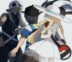 1girl 2boys bag bandana_over_mouth bandanna bangs baseball_cap bird black_hair blonde_hair braid capri_pants dark_skin dark_skinned_male doshiko dress duffel_bag green_eyes hand_on_hip hat holding holding_poke_ball jewelry lillie_(pokemon) long_hair male_protagonist_(pokemon_sm) multiple_boys necklace pants poke_ball pokemon pokemon_(creature) pokemon_(game) pokemon_sm see-through shirt short_hair sleeveless sleeveless_dress slouching striped striped_shirt sun_hat swept_bangs t-shirt tank_top team_skull_grunt trumbeak twin_braids white_dress white_hat
