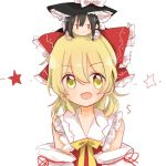 2girls :d bare_shoulders black_hair bow cosplay costume_switch detached_sleeves hair_bow hakurei_reimu hakurei_reimu_(cosplay) hat jitome kirisame_marisa kirisame_marisa_(cosplay) kosencha long_hair looking_at_viewer minigirl multiple_girls open_mouth person_on_head smile star touhou witch_hat yellow_eyes