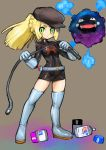1girl bangs blonde_hair blunt_bangs blush braid clothes_writing cosmog cosmog_(cosplay) cosplay dakusuta french_braid gloves green_eyes hat highres koffing lillie_(pokemon) long_hair looking_at_viewer npc pokemon pokemon_(creature) pokemon_(game) pokemon_sm ponytail shiny shiny_clothes skirt smile solo team_rocket team_rocket_grunt thigh-highs whip