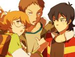 1girl 2boys anger_vein backpack bag black_hair brown_eyes brown_hair flipped_hair glasses hood hoodie hyakujuu-ou_golion jacket kaemonn keith_(voltron) lance_(voltron) mullet multiple_boys open_clothes open_jacket orange_hair pidge_gundarsson pointing pointing_at_self reverse_trap semi-rimless_glasses simple_background under-rim_glasses upper_body voltron:_legendary_defender white_background