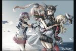 4girls ahoge anchor_hair_ornament belt black_hair black_ribbon black_skirt blonde_hair blue_eyes breast_pocket breasts brown_hair commentary_request dress gloves hair_between_eyes hair_ornament hat headgear highres iron_cross kantai_collection long_hair long_sleeves low_twintails microskirt military military_hat military_uniform multiple_girls nagato_(kantai_collection) open_mouth peaked_cap pleated_skirt ponytail prinz_eugen_(kantai_collection) purple_hair red_legwear red_neckerchief ribbon sakawa_(kantai_collection) saratoga_(kantai_collection) school_uniform seitei_(04seitei) serafuku short_hair side_ponytail skirt smile thigh-highs twintails uniform white_dress white_gloves