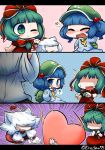 1girl 3koma ? animal_ears blush bow comic green_hair hair_bobbles hair_bow hair_ornament hat inubashiri_momiji inunoko. jealous kagiyama_hina kawashiro_nitori open_mouth short_hair signature smile throwing tokin_hat touhou white_hair wolf_ears yuri