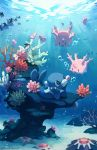 air_bubble bluekomadori bubble clown_nose coral corsola finneon hands_on_own_cheeks hands_on_own_face highres looking_at_another no_humans pokemon pokemon_(creature) popplio sea_lion smile starmie staryu tumblr_username underwater water