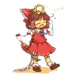androgynous arm_up ascot bandaid bandaid_on_knee bandaid_on_leg bangs black_shoes blush bow brown_hair bubble closed_eyes closed_mouth cosplay detached_sleeves eyebrows_visible_through_hair flower flowey_(undertale) frisk_(undertale) full_body gohei hair_bow hair_tubes hakurei_reimu hakurei_reimu_(cosplay) highres holding iiwake japanese_clothes leaf long_sleeves miko motion_lines on_head one_eye_closed open_mouth red_bow ribbon-trimmed_sleeves ribbon_trim rubbing_eyes shoe_bow shoes short_hair simple_background skirt skirt_set standing stick teardrop tears touhou undertale white_background wide_sleeves yawning