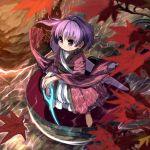 1girl afloat ahoge autumn_leaves barefoot blush bowl closed_mouth full_body glowing glowing_weapon highres in_bowl in_container japanese_clothes kimono leaf leaf_print legs_apart long_sleeves looking_afar maple_leaf needle obi outdoors purple_hair red_eyes river rock sash shope short_hair solo standing sukuna_shinmyoumaru tareme touhou tsurime water weapon wide_sleeves