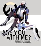 1boy 1girl 2016 a821 animal_print arm_at_side arm_support armor armored_boots artist_name bodysuit boots brown_eyes brown_hair bubble_blowing bubblegum bunny_print copyright_name covered_mouth d.va_(overwatch) dated emblem english explosive face_mask facepaint facial_mark game_console gloves greaves grenade gum hand_on_lap handheld_game_console harness headphones holding jacket knee_boots knee_up logo long_hair long_sleeves lying lying_on_lap mask on_back overwatch pants pauldrons pilot_suit playing_games playstation_portable red_gloves ribbed_bodysuit scar short_hair shoulder_pads sitting sitting_on_person soldier:_76_(overwatch) strap thigh-highs thigh_boots thigh_strap turtleneck visor whisker_markings white_gloves white_hair