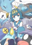 1girl araquanid baggy_pants blue_eyes blue_hair capri_pants chinchou hairband lapras nanateru pants pokemon pokemon_(creature) pokemon_(game) pokemon_sm popplio sandals shellder short_hair smile suiren_(pokemon) wishiwashi