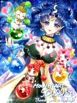 5girls ;o bishoujo_senshi_sailor_moon blue_background blue_eyes blue_hair blue_legwear bow breasts cape cerecere_(sailor_moon) chibi cleavage closed_eyes cowboy_shot crescent crescent_earrings crossed_arms ear_covers earrings flower green_hair grin hair_bow hair_bun hair_rings hits jewelry junjun_(sailor_moon) legs_crossed long_hair multiple_girls nehelenia_(sailor_moon) one_eye_closed orb pallapalla_(sailor_moon) pants pantyhose petals pink_hair pink_legwear pointy_ears red_eyes red_legwear redhead shirataki_kaiseki signature sitting smile twintails vesves_(sailor_moon) violet_eyes wavy_hair white_pants yellow_bow