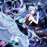 1girl :d amatsukiryoyu aqua_bow back bangs bare_shoulders black_bow black_dress blue_eyes blue_hair boots bow breasts broken cable city_lights cross-laced_footwear diamond_(shape) dress eyelashes floating_hair flying frills glint gloves glowing hair_between_eyes hair_bow hatsune_miku headp headphones high_heel_boots high_heels holding long_hair looking_at_viewer magical_mirai_(vocaloid) microphone_stand midair night night_sky open_mouth outdoors pantyhose petticoat print_legwear shards sky sleeveless sleeveless_dress small_breasts smile solo star_(sky) starry_sky thigh_strap too_many too_many_frills twintails unplugged very_long_hair vocaloid white_gloves white_legwear