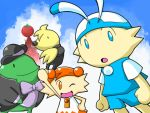 1girl 3boys alphadream animal aretha_(tomato_adventure) bell black_hat black_suit blue_eyes blue_shirt blue_shorts bow bowtie clouds demille frog hat hoshikagami looking_at_viewer lowres mole_(animal) nintendo no_humans one_eye_closed orange_eyes outdoors purple_bow purple_bowtie rabbit rereku shirt shorts sky sofubi suit tomato tomato_adventure two-tone_dress wink