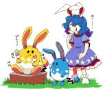 1girl alternate_color animal_ears azumarill blue_dress blue_hair buck_teeth commentary_request crossover dango dress eating food furukawa_(yomawari) grass highres looking_at_another pokemon puffy_short_sleeves puffy_sleeves rabbit_ears red_eyes seiran_(touhou) shiny_pokemon short_sleeves sitting sweat tail touhou translation_request tree_stump wagashi